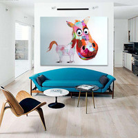 Hand-painted Lovely Pony Wall Art Beauty Funny Animal Home Decor Modern Oil Painting On Canvas Abstract Picture No Framed