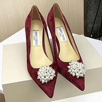 Jimmy Choo New Women Pearl Princess Pointed High Heels Shoes