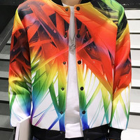 3D Color Block Print Plus Size Stand Collar Long Sleeve  Jacket