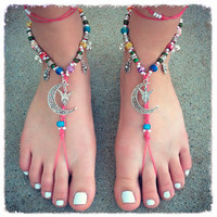 Handmade Fairy Moon Jingle Bell Barefoot Sandals