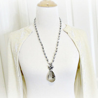 Vintage Large Crystal Pendant Necklace, Hematite Gray Teardrop Crystals, Long Gray Beaded Necklace, 1970s Runway Statement Jewelry Necklace