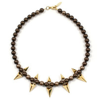 Vicious Love Pearl & Double Sided Pyramid Necklace - Gold/Brown