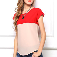 MultiColor Short Sleeve Chiffon TShirt