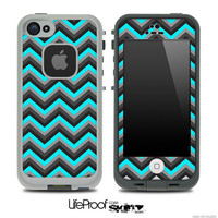 Teal & Charcoal Gray ZigZag Skin for the iPhone 4/4s or 5 LifeProof Case