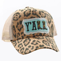 Y'all Patch on Leopard Hat