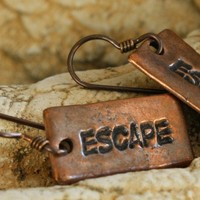 Escape copper clay earrings Niobium wires Any Age Unisex