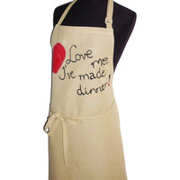 Hand printed and quilted unisex apron