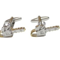 Gold and Silver Toned Chainsaw Cufflinks