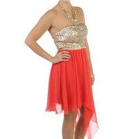 strapless sequin bodice short homecoming dress with asymmetrical skirt