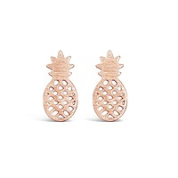 Minimal Rose Gold Pineapple Earrings