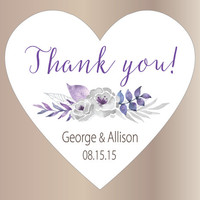 24 Wedding stickers   Thank you stickers wedding   Wedding favor labels   Heart stickers   Custom bridal shower stickers   Purple and silver