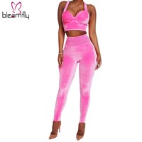 Woman Two Piece Outfit Set Womens Velvet Sexy Autumn 2 Piece Sets 2018 Pink Crop Strap Tops Elastic Waist Pants Club Outfits