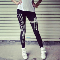 women legging fitness punk style gothic american apparel Harajuku Gun /Work out printted slim sexy soprtwear free shipping Z680