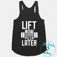 Lift Now Pizza Later Workout Tank, Gym Tank, Running Tank, Gym Shirt, Running Shirt, Workout Shirt, crossfit tank, workout clothes, tank top