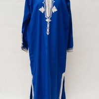 Vintage BLUE WHITE Indian kaftan djellaba Robe Embroidered Boho LARGE SIZE | eBay