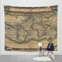 Antique Map of North and South America Wall Tapestry by Map Shop