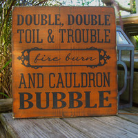 Spooky Halloween Decor,Halloween Party,Halloween Signs,Haunted House Decor,Halloween Classroom,Witches Brew,Double Double Toil Trouble