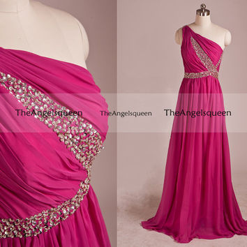 Elegant Rose Red A-line Beading Waist One Shoulder Long Evening Gowns,Bridesmaid dresses,evening dresses,party dress,senior dress