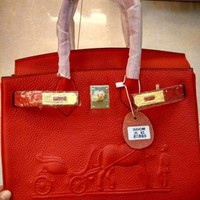 HCXX 008 Hermes horse-drawn cart Leather Fashion Handbag 30-22-16CM Red