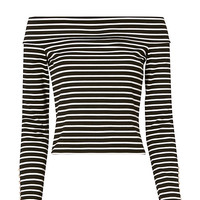 Derek Lam 10 Crosby Stripe Button Cuff Crop Top - INTERMIX®