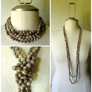 Long Boho Bead Necklace Jobs Tears seeds hipster hippie beads taupe grey mocha brown extra long gypsy beads vintage 60s 70s