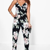 Fiona Floral Print Cami Wrap Strappy Jumpsuit