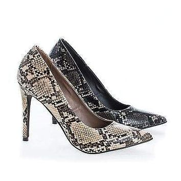 Lydia14 By Breckelle's, Pointy Toe Snake Print Slip On Stiletto Heel Pumps