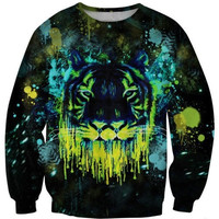 Latest fashion fads Lovers clothes print Fluorescence tiger casual Sweatshirts long sleeved loose Sweatshirt casual hoodie G203 = 1931819140