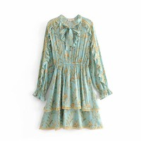 Turquoise positioning print cutout ruffled lace dress