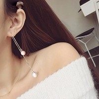 Creative Silver Chain Drop Earrings With Pearls