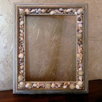 Rustic Wood Picture Frame Embellished with Sea Shells, Beach Decor, Embellished Frame, 14 x 11 Picture