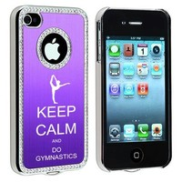 Apple iPhone 4 4S 4G Purple S1630 Rhinestone Crystal Bling Aluminum Plated Hard Case Cover Keep Calm and Do Gymnastics
