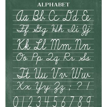 Vintage Alphabet and Numerical Cursive Classroom Poster Chalkboard Word Art - Back to School Teacher Appreciation Gift