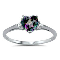 Sterling Silver Rainbow Mystic Topaz Heart cut Kids and Ladies ring size 3-12