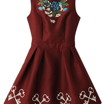 Burgundy Floral and Key Printed Pleated Dress