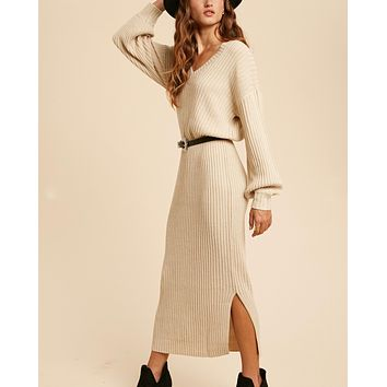 Valerie V-Neck Sweater Maxi Dress in Oatmeal