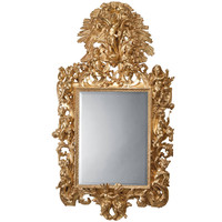 Italian Giltwood Mirror Carved with Allegorical Figures