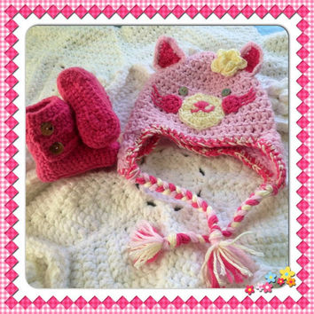 Pink Kitty Cat Hat Beanie Baby Booties Set w-Flower Hand Crochet Ankle boots shoes Baby Shower Gift w-earflaps Newborn Infant Photo Prop