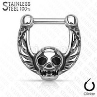 Skull Center Casted All 316l Surgical Steel Septum Clickers Steel Skull Wings Septum Clicker Nose Ring Gauges 14g 16g