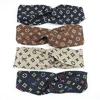 LV Louis Vuitton Popular Sport Print Cross Silk Headband Headband Headwrap Head Hair Band(4-Color)