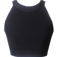 Black Halter Neck Black Bandage Crop Top