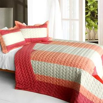 [Ruby Ring] 3PC Patchwork Quilt Set (Full/Queen Size)
