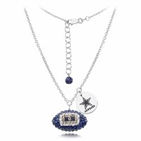 Dallas Cowboys Silver and Crystal Necklace Jewelry. NFL Jewelry