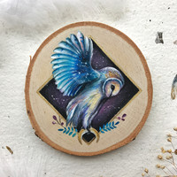 Cosmic Owl in Flight | Painting on wood