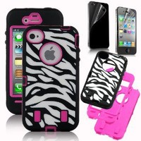 Pandamimi Rose Pink White Zebra Combo Hard Soft High Impact iPhone 4 4S Armor Case Skin Gel with free screen protector: Cell Phones & Accessories