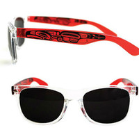 Sunglasses with Orange-Red and Black in Thunderbird Design by Ernest Swanson, Haida