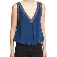 Joie Adsila Embellished-Trim Silk Top