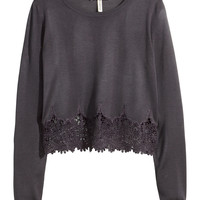 Sweater with Lace Trim - from H&M
