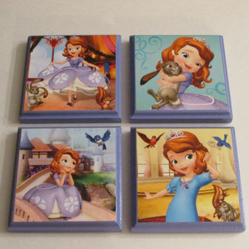 Disney Sofia the First Room Wall Plaques - Set of 4 Sofia the First Girls Room Decor - Sofia the First Wall Signs