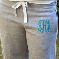 Monogram Gifts, Monogram Sweatpants, Monogram Fleece, Monogrammed, Monogram Fleece Pants, Bridesmaid gift,  Cheerleader, Sweatpants